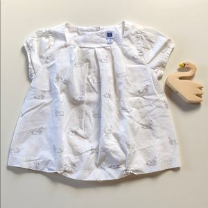 Janie And Jack | White Cap Sleeve Swan Blouse | 3T
